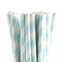 25 Pailles Fantaisie   Rayées Bleu Azur