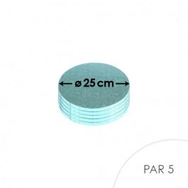 Cartons à entremets - Bleu Pâle - Ronds 25 cm