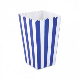 6 Boîtes à Popcorn | Rayées Bleu Roi et Blanc