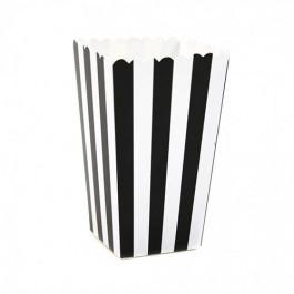 6 Boîtes à Popcorn | Rayées Noir et Blanc