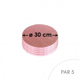 5 Cartons à entremets - Ronds 30 cm - rose