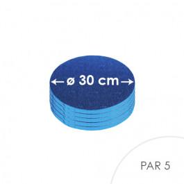 5 Cartons à entremets - Bleu Roi - Ronds 30 cm