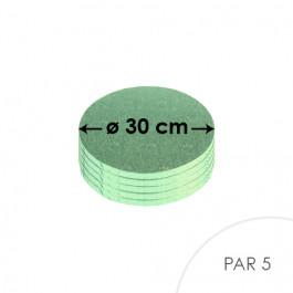 5 Cartons à entremets - Ronds 30 cm - vert pâle