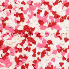 Confettis en Sucre - Coeurs Rouges, Roses et Blancs