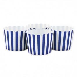6 Darioles en Carton (Party Cups)   Rayées Bleu Roi et Blanc