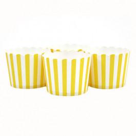 6 Darioles en Carton (Party Cups) | Rayées Jaune et Blanc