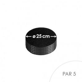 5 Cartons à entremets - Noir - Ronds 25 cm
