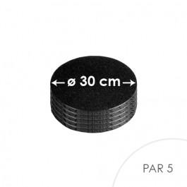 5 Cartons à entremets - Noir - Ronds 30 cm