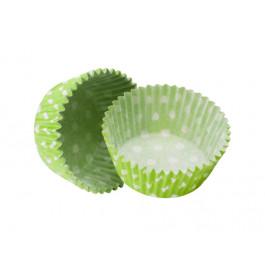Caissettes Cupcakes – Taille Standard   Vert Vif à pois blancs
