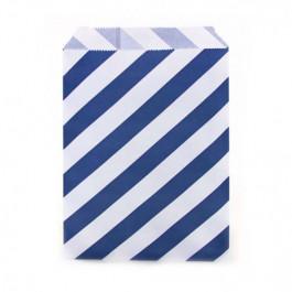 12 Sachets pour Surprises et Friandises   Rayés Bleu Nuit et Blanc