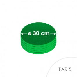5 Cartons à entremets - Ronds 30 cm - vert sombre