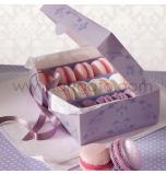 Boîtes Macarons avec Fenêtre | Mauve - 2 Boîtes pour 12 Macarons, 17 x 12 cm x Haut. 5,5 cm
