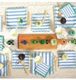 BLEU | Ensemble Vaisselle Papier Rayures Bleues Meri Meri®