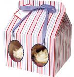 Rayures Bleues - 3 Boîtes pour 4 Cupcakes
