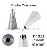 Douille Cannelée (Étoile) - n°821 / Ø 6 mm