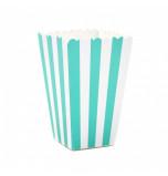 6 Boîtes à Popcorn | Rayées Bleu Turquoise et Blanc