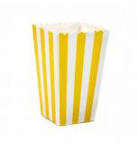 6 Boîtes à Popcorn | Rayées Jaune et Blanc