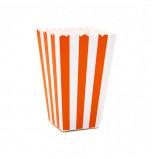 6 Boîtes à Popcorn | Rayées Orange et Blanc