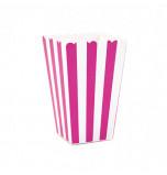 6 Boîtes à Popcorn | Rayées Fuchsia et Blanc