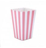 6 Boîtes à Popcorn | Rayées Rose et Blanc