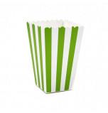 6 Boîtes à Popcorn | Rayées Vert Vif et Blanc
