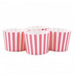6 Darioles en Carton (Party Cups) | Rayées Rose et Blanc