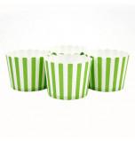 6 Darioles en Carton (Party Cups) | Rayées Vert Vif et Blanc