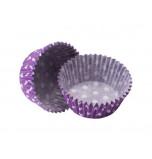 120 Caissettes Cupcakes | Taille Standard - Violettes à pois