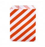 12 Sachets pour Surprises et Friandises | Rayés Orange et Blanc