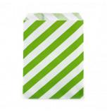 12 Sachets pour Surprises et Friandises | Rayés Vert Vif et Blanc