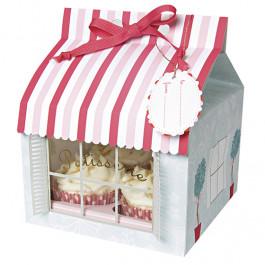 3 Boîtes pour 4 Cupcakes Rose et Rouge