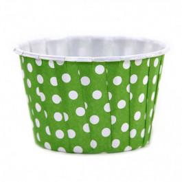 6 Caissettes Friandises (Nut Cups)   Vert Vif à pois