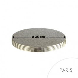 5 Cartons à Entremets - Argent - Ronds 3 mm - 35 cm