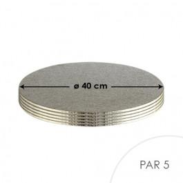 5 Cartons à Entremets - Argent - Ronds 3 mm - 40 cm
