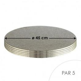 5 Cartons à Entremets - Argent - Ronds 3 mm - 45 cm