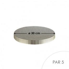 5 Cartons à Entremets - Argent - Ronds 3 mm - 30 cm