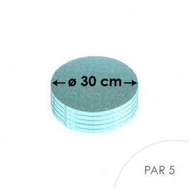 5 Cartons à entremets - Ronds 30 cm - bleu pâle