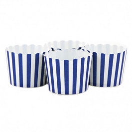 6 Darioles en Carton (Party Cups) | Rayées Bleu Roi et Blanc