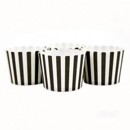 6 Darioles en Carton (Party Cups)   Rayées Noir et Blanc