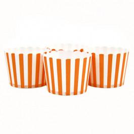 6 Darioles en Carton (Party Cups) | Rayées Orange et Blanc