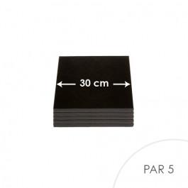 5 Cartons à entremets - Noir - Carrés 30 cm