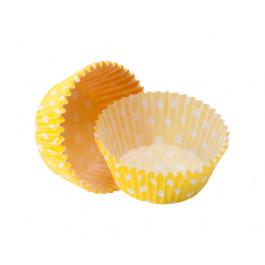 Caissettes Cupcakes – Taille Standard   Jaunes à pois blancs