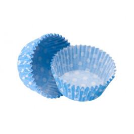 Caissettes Cupcakes – Taille Standard | Bleu Azur à pois blancs