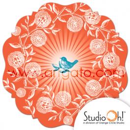 Plat à Gâteau | Petit Oiseau et Fleurs