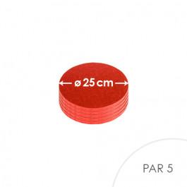 5 Cartons à entremets - Rouge - Ronds 25 cm