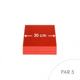 5 Cartons à entremets - Rouge - Carrés 30 cm