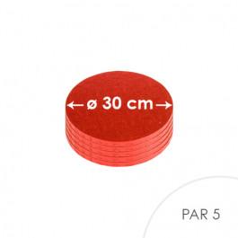 5 Cartons à entremets - Rouge - Ronds 30 cm