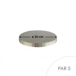5 Cartons à Entremets - Argent - Ronds 3 mm - 25 cm