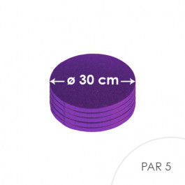 5 Cartons à entremets - Ronds 30 cm - violet