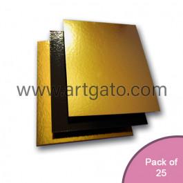 25 Gold / Black Mirror Cake Cards | Square